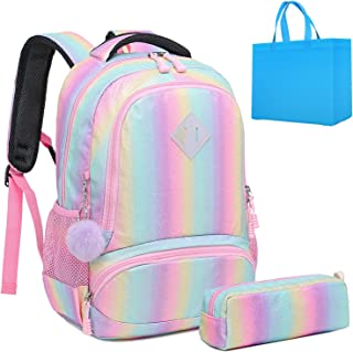 Girls School Backpack Cute Rainbow Glitter Backpack Kids Preschool Backpack kindergarten School Bag Bookbag (Bling)