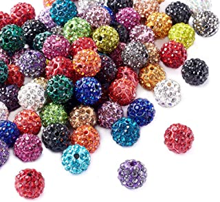 Beadthoven 100Pcs 10mm Shamballa Pave Disco Ball Clay Beads Mixed Color Polymer Clay Round Rhinestone Beads Charms for Jew...
