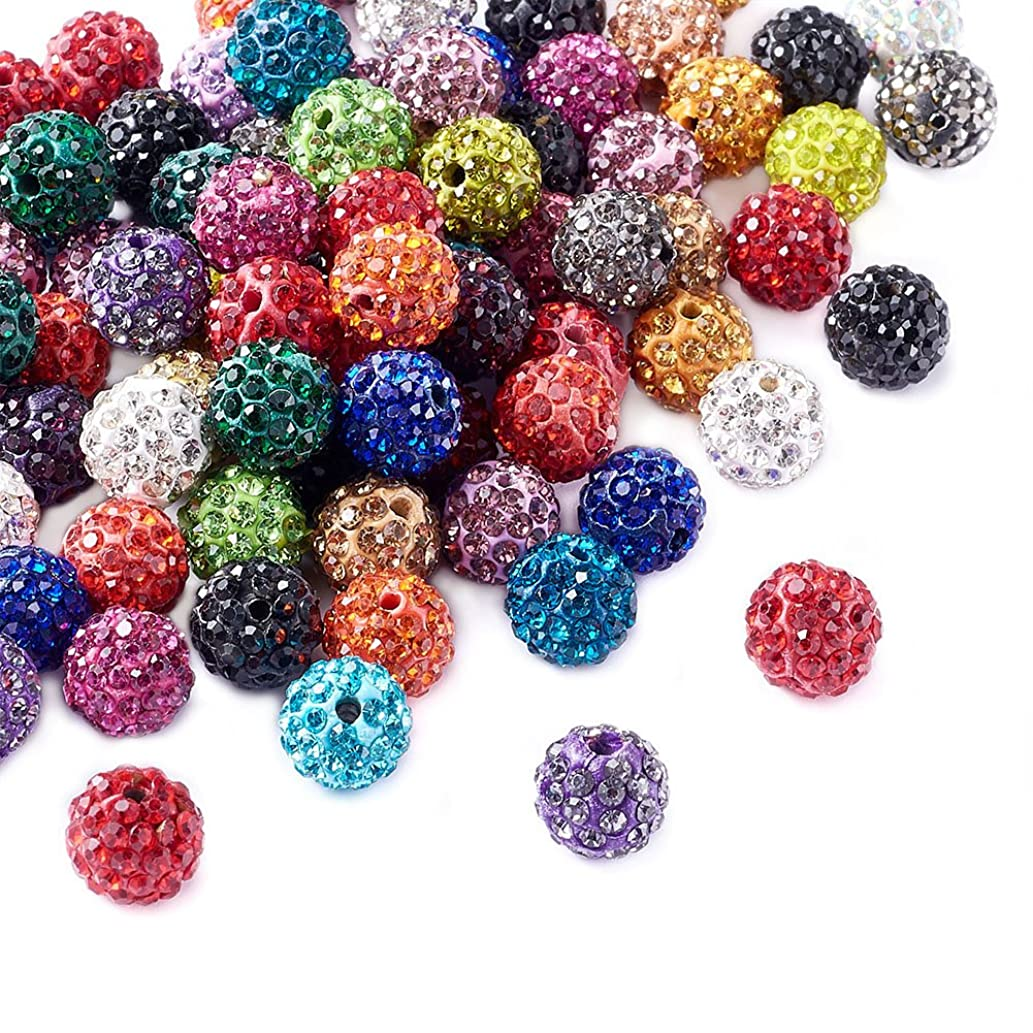 Beadthoven 100pcs 10mm Multi-Color Glass Rhinestone Clay Pave Round Beads Disco Crystal Shamballa Beading Charms for Jewelry Crafts Making Creative Handmade Home Decoration Accessoies Supplies