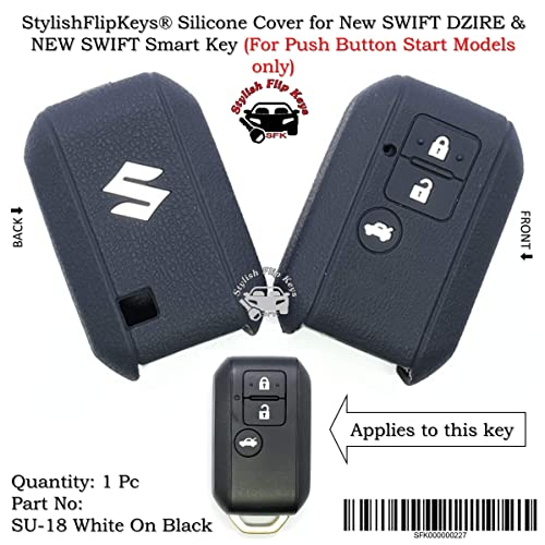 StylishFlipKeys® Silicone Key Cover Swift & Swift Dzire (2017+) Push Button Smart Key (Please Check All pics) (SU-18-White-On-Black)
