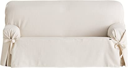 Eysa Bianca Universal Sofa Cover with Ribbons 3 Seats Color 01-Ecru, Cotton, 230 x 180 x 70 cm