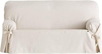 Eysa Bianca - Funda de sofa con lazos delanteros y traseros, 100% algodón, Crudo, Dos Plazas