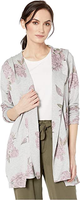 Printed French Terry Long Sleeve Hooded Cardigan
