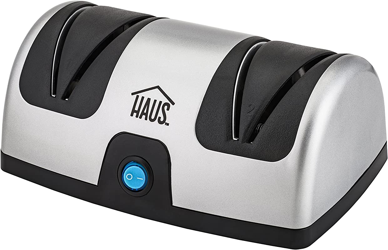 Haus HKS 37336 BK Diamond Coated Electric Knife Sharpener Kitchen Chef Paring Pocket And Steel Knives 2 Stage Stainless
