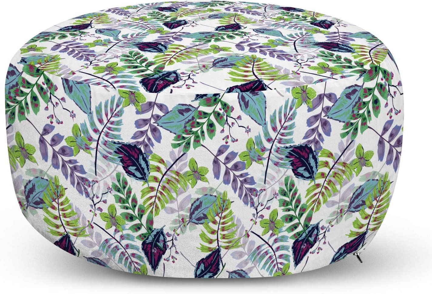 Ambesonne Leaves Ottoman Oklahoma City Mall Pouf Forest Tropical Colorful Branches Popular standard