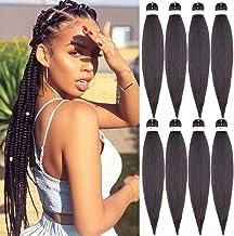 "26""-8 Packs Braiding Hair Pre Stretched Hair for Braiding Professional Kanekalon Synthetic Hair Hot Water Setting Yaki Texture Premium Fiber Crochet Synthetic Braiding Hair"