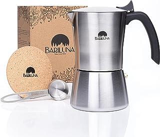 BARILUNA® Premium espressobryggare i rostfritt stål, lämplig för induktion, 4–6 koppar espresso, 200–300 ml mockakokare, c...
