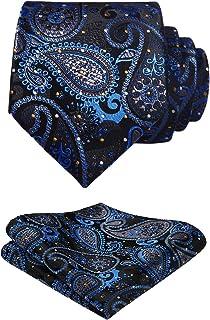 HISDERN Floral Paisley Wedding Tie Fazzoletto da uomo Cravatta e fazzoletto da taschino