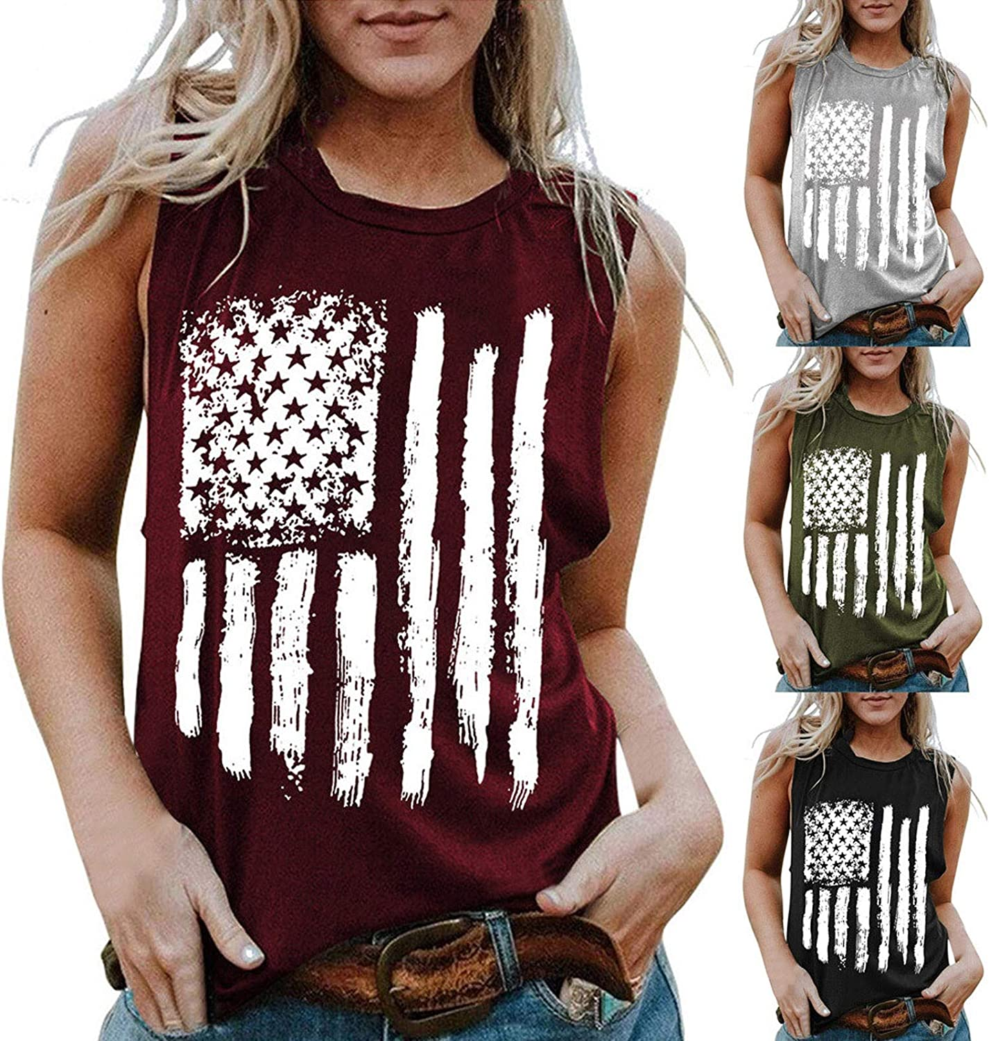 Independence Day Women's Sleeveless Tank Casual Tops O-Neck Tshirt Printed T-Shirt Vest Fashion Tees