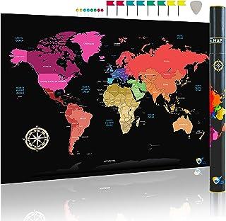 Mapamundi para rascar (de City Travel) | Perfecto regalo para viajeros | Mapa del mundo minimalista | Extra grande (84.1 x 59.4cm -A1) fácil de enmarcar | Con rascador y pines para países visitados.