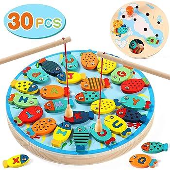 Lewo 2 in 1 Gioco di Pesca 30 PC Legno Alfabeto Lettera Magnetica Giocattoli da Pesca per 3 4 5 Anni Ragazze Ragazzi Bambini Toddles Compleanno Apprendimento Educazione Giocattoli con Magnete Polacchi