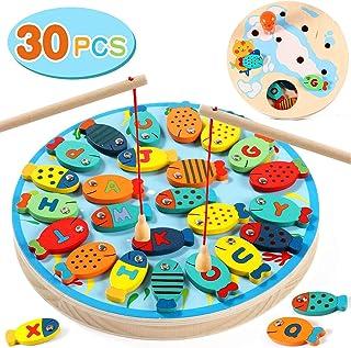 Lewo 2 en 1 Juego de Pesca 30 PCS Alfabeto Magnético de Madera Carta de Pesca Juguetes para 3 4 5 Años de Edad Niñas Niños...