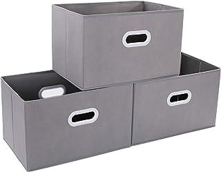 DIMJ Lot de 3 Boites de Rangement Pliables, Caisse de Rangement en Tissu avec Poignée Renforcée, Panier de Rangement Porta...