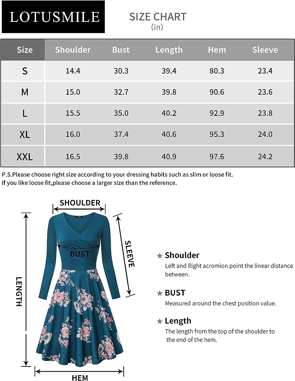 Lotusmile Women's Long Sleeve Elegant Vintage A Line Dress