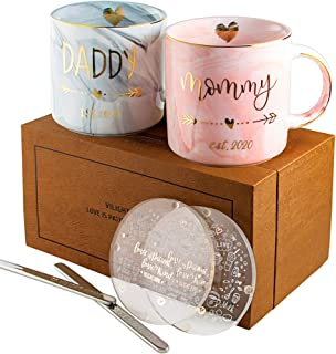 Vilight New Mom and First Time Pregnancy Gifts - Mommy and Daddy est 2020 Mugs for Parents to be - Marble Ceramic Cup with Gift Box