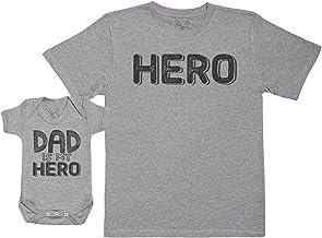 Baby Bunny MY Dad Is My Hero - Regalo para Padres y bebés en un Cuerpo para bebés y una Camiseta de Hombre a Juego