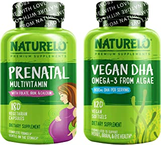 NATURELO Prenatal Multivitamin 180ct + NATURELO Vegan DHA 120ct