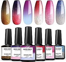 Modelones Mood Gel Nail Polish - Color Changing Gel Nail Polish Set- Red Glitter Gel Polish- Soak Off Gel Nail Polish Mani...
