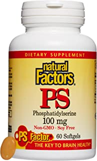Natural Factors, PhosphatidylSerine (PS) 100 mg, Supports Healthy Brain Function with Non-GMO Sunflower Lecithin, 60 softgels (60 servings)