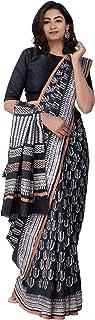 Unnati Silks Women Black Bengal Soft Silk Saree with Blouse Piece, Lepakshi Printed Elegant Pallu with Border from The Weavers of West Bengal (UNM24293)