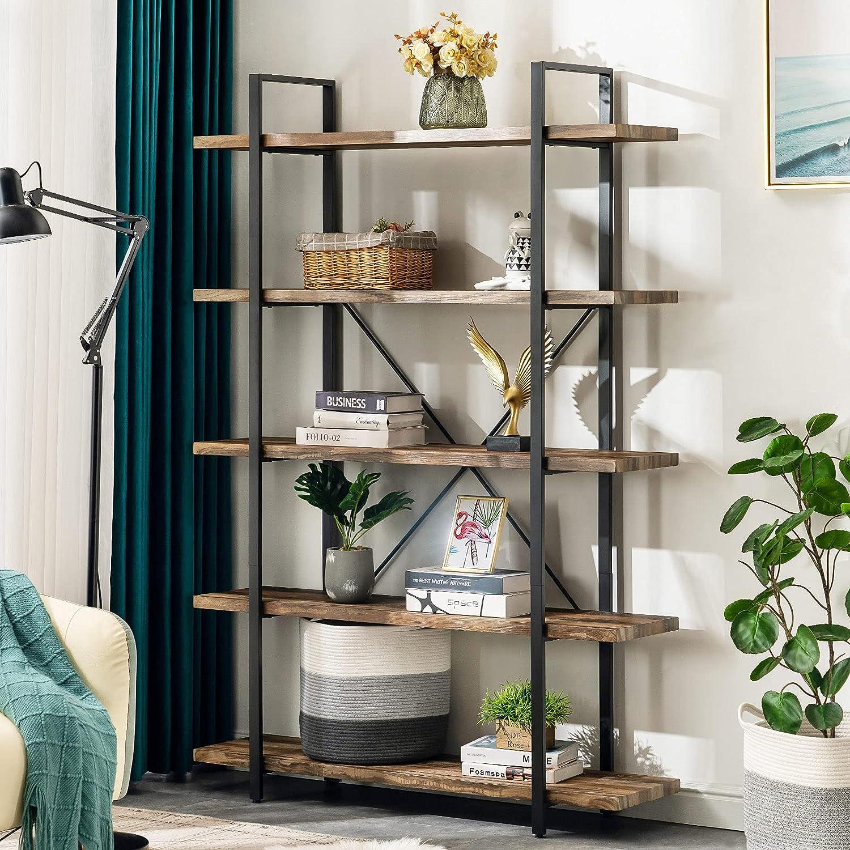 Apicizon 5-Shelf Industrial Bookshelf Etagere Bookcases 送料無料でお届けします 販売実績No.1 Open wi