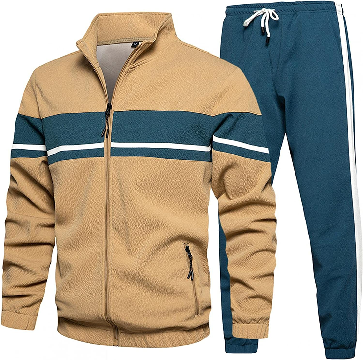 VEKDONE Men's Casual Tracksuit Set 2 Piece Outfit Athletic Sports Full Zip Striped Patchwork Running Jogging Sweat Suits