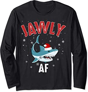 Funny Jawly AF Christmas Shark Pajama Matching Gifts Long Sleeve T-Shirt