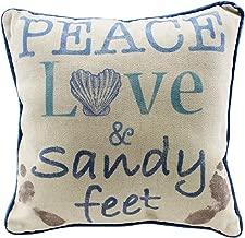 Beachcombers Coastal Life Peace Love and Sandy Feet Natural Decorative Beach 12 Inch Throw Pillow