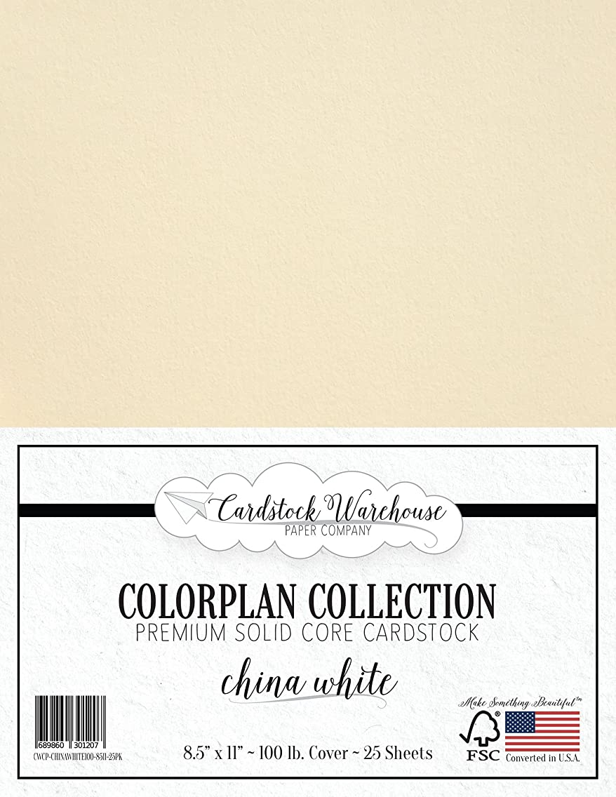 China White Cardstock Paper - 8.5 x 11 inch Premium 100 lb. Cover - 25 Sheets from Cardstock Warehouse
