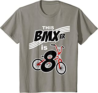 Kids 8th Birthday Boys BMX Bike Kids T-Shirt Bicycle 8 Year Old