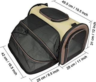 Becko Expandable Foldable Pet Carrier Travel Handbag with Padding and Extension