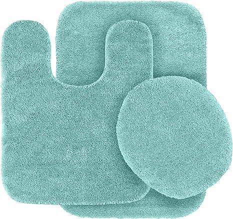 Amazon Com Elegant Homes 3 Piece Bathroom Rug Set Bath Contour Mat Lid Cover Non Slip With Rubber Backing Solid Color Angela Aqua Marine Blue Home Kitchen