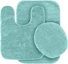 3pc Solid Color Non Slip Soft Bath Rug Set for Bathroom U-Shaped Contour Rug, Mat and Toilet Lid Cover New # Angela Sea Fo...