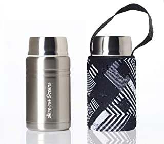 BBBYO FOODIE INSULATED LUNCH BOX, FLASK, THERMOS, CONTAINER + CARRY COVER- STAINLESS STEEL - 25oz/750ml