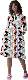 RADANYA Women's Geometric Printed Swing Casual T Shirt Dresses Long Sleeves Summer Dress with Collar