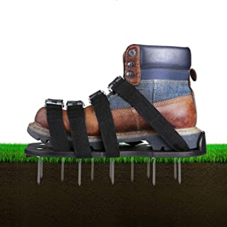 Fun2Us Lawn Shoes with 8 Adjustable Straps Aluminium Alloy Buckles Heavy Duty Aerating Shoes Green Spiked Sandals Lawn Aerator Shoe for Aerating Your Lawn Or Yard (Black)