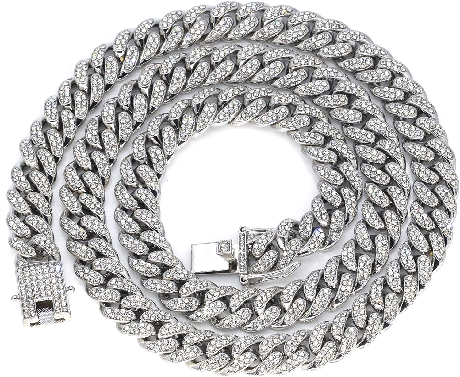 Max 75% OFF Mens Limited price sale Iced Out Hip Hop Silver or Gold Tone Miami Cuban Link Ch CZ