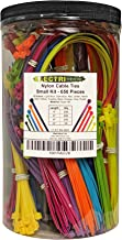 Electriduct Nylon Cable Tie Kit - 650 Zip Ties - Multi Color (Blue, Red, Green, Yellow, Fuchsia, Orange, Gray, Purple) - Assorted Lengths 4, 6, 8, 11