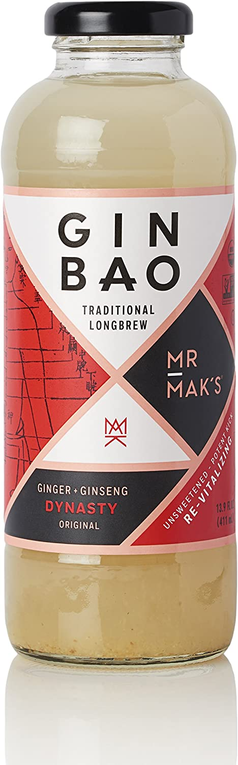 Mr. Mak's Ginbao, Ginger +Ginseng unsweetened original, Dynasty, 12.9 Fl oz (12-pack case)
