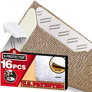Rug Grippers X-PROTECTOR – Best 16 pcs Anti Curling Rug Gripper. Keeps Your Rug in Place & Makes Corners Flat. Premium Carpet Gripper with Renewable Carpet Tape – Ideal Non Slip Rug Pad for Your Rug!