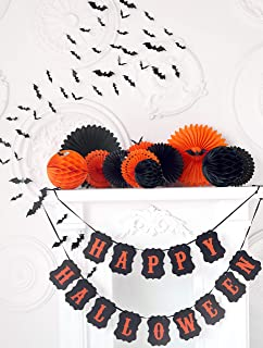 Halloween Decoration Set | Halloween Paper Party Banner, Paper Fans, Honeycomb Balls and Vinyl Bats for Halloween Party Event, Decorations With Black and Orange Colors, 60 Pieces