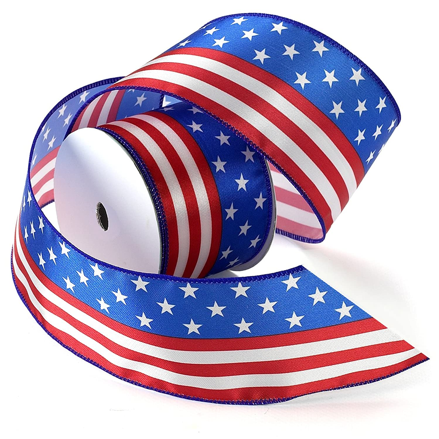Morex Ribbon Stars and Stripes Wired Satin Ribbon Spool, 2-1/2-Inch by 3-Yard, Red/White/Blue