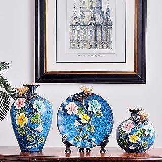 Jarrón cerámico de 3 piezas, florero de arreglos de flor de cerámica de estilo europeo, ilustraciones de lujo y exquisito ...