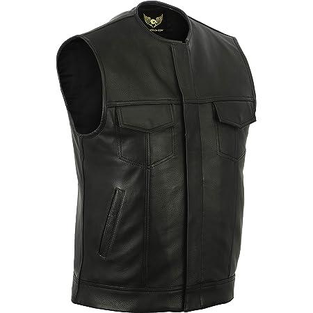 Leatherick SOA Chaleco de motociclista de cuero genuino para ...