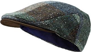 Borges & Scott La Sloan Costa - Gorra Plana de Tweed Irlandés y Cuero Nobuck