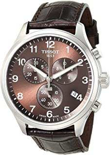 Men's Chrono XL Stainless Steel Swiss Quartz Sport Watch with Leather Calfskin Strap, Brown (Model: T1166171629700)
