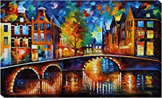 Picture Perfect International Giclee Stretched Wall Art by Leonid Afremov The Bridges of Amsterdam Artists-Canvas 24