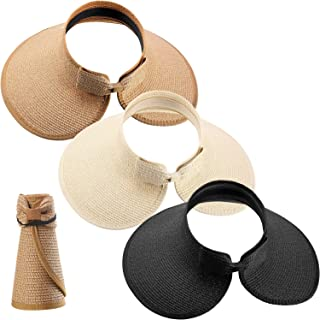 3 Pieces Women Foldable Straw Sun Visor Wide Brim Roll up Beach Hat with Bowtie