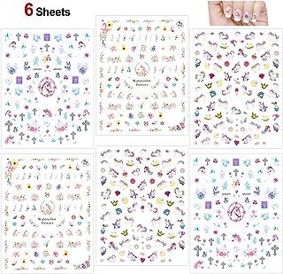 Howaf 500+ diseños Unicornio 3D pegatinas uñas decoracion uñas calcomanías autoadherentes Nail Art Pegatinas para niños ni...