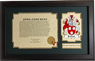Everett - Coat of Arms and Last Name History, 14x22 Inches Matted and Framed